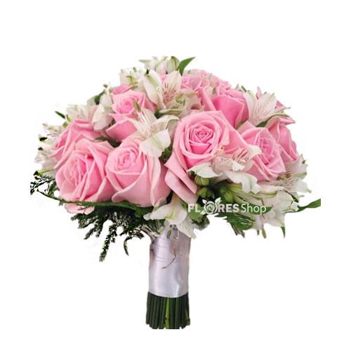 2380  Buquê de Noiva Rosas Cor de Rosas e Astromélias