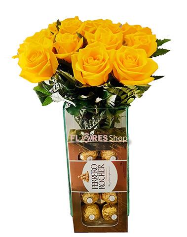3284 Vaso com rosas amarelas