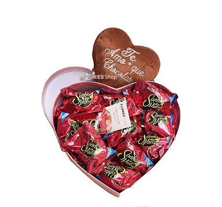 3286 Kit coração pelúcia e chocolates