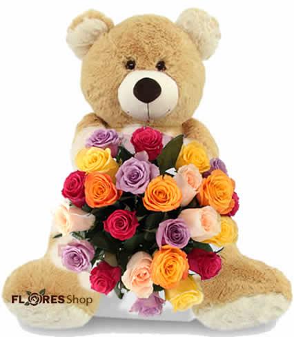 3301 Urso Tedy com Rosas