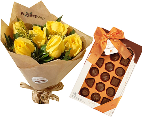 3867 Yellow roses with chocolates