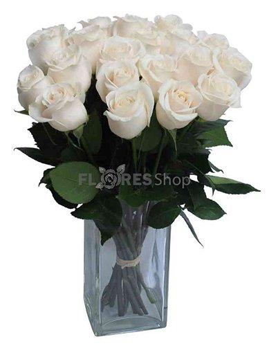 387 Buquê Rosas Brancas no Vaso