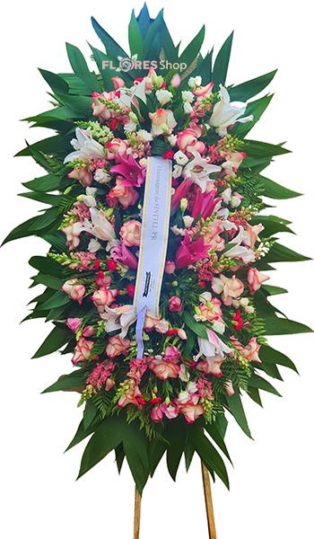 5156 Coroa de Flores  Rosa e Branca